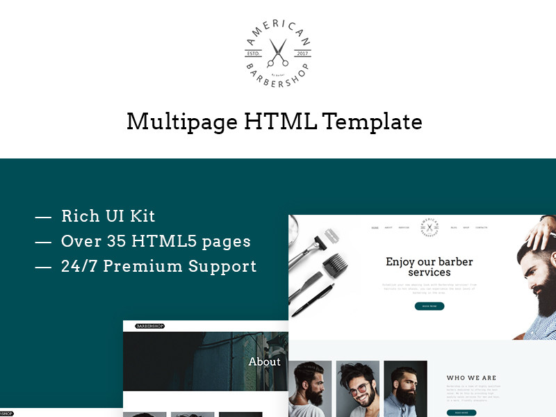 Image for Barber Shop Multipage Website Template