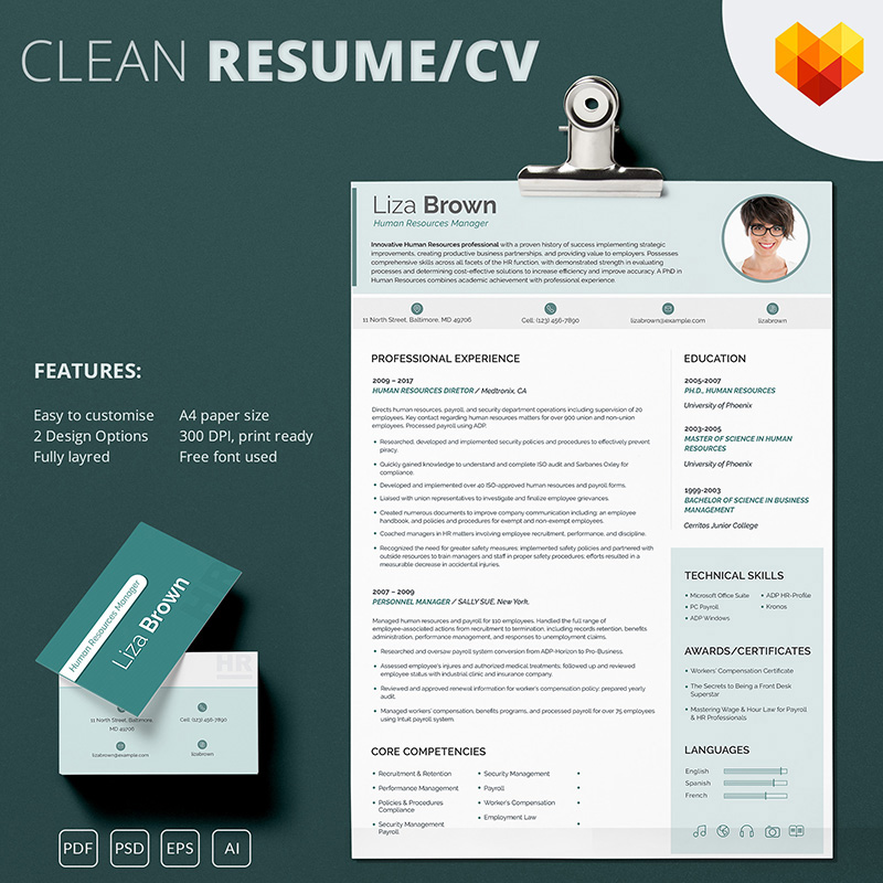 Liza Brown - Human Resources Manager Resume Template