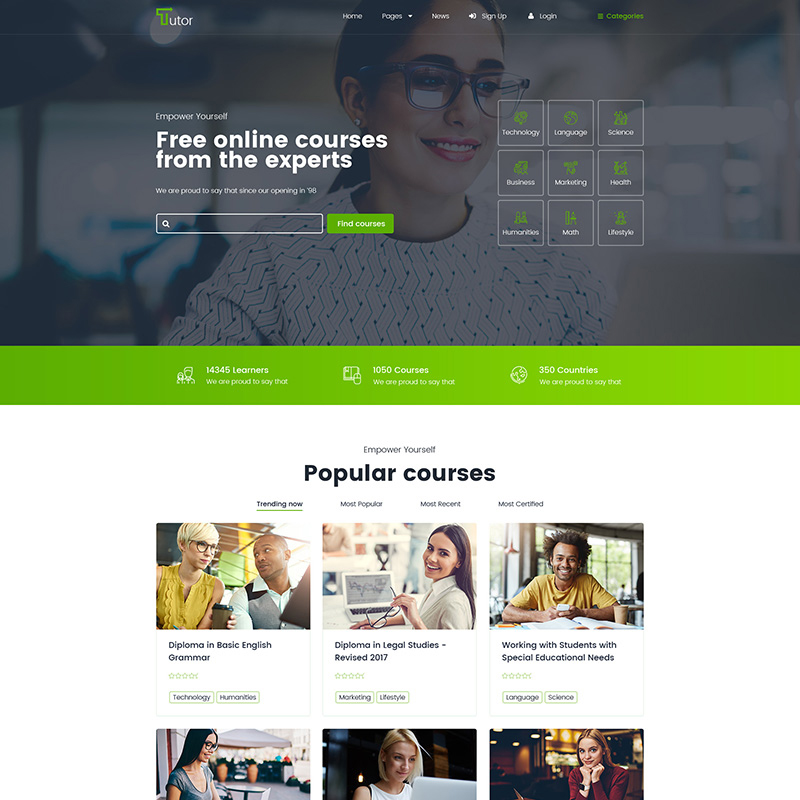 Tutor - Online Tutorials and Courses Website Template