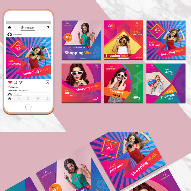 Colorful Instagram Banner Pack Social Media