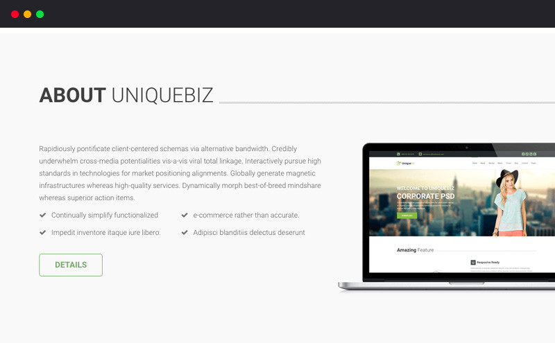 Image for UniqueBiz Corporate HTML Template