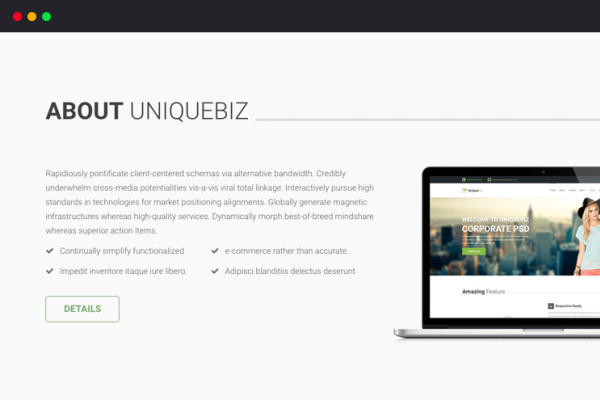 UniqueBiz Corporate HTML Template template