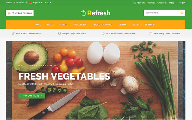 Refresh - Food & Restaurant Website Template thumbnail