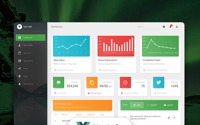 Vue Material Dashboard template
