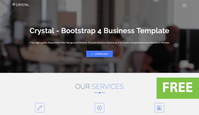 Thumbnail of Crystal - Free Bootstrap Video Background Website Template