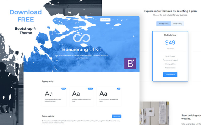 Boomerang UI Kit Free template
