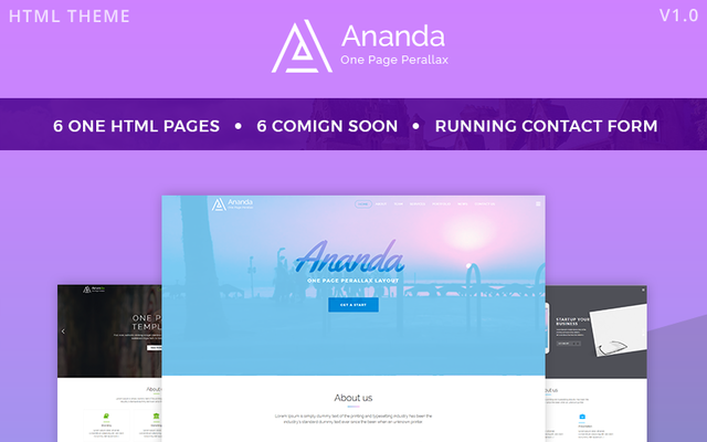 image for Ananda - One Page Parallax Website Template