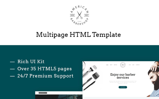 Barber Shop Multipage Website Template thumbnail