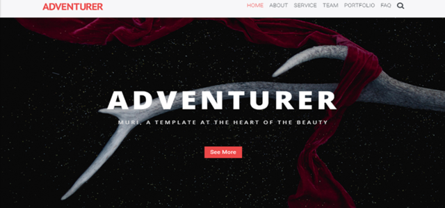 Adventurer - One Page Creative HTML5 Page Template template